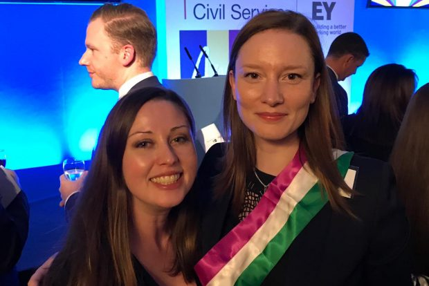 Photo of Vicky and Siobhan at the Civil Service Awards